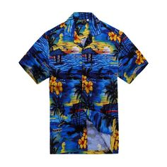 Men Hawaiian Aloha Shirt in Blue Scenic View