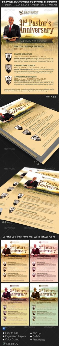 "Pastor Anniversary Church Flyer Template: Harvest - $6.00 The Pastor Anniversary Events Flyer: Harvest Edition Photoshop Template is for pastor anniversary celebration, appreciation events and harvest celebration events for churches. Can also be edited and used for funeral or wedding program covers. The template is very easy to edit and manipulate. It's convenient, all you need to to is ""Edit, Save and Print"""