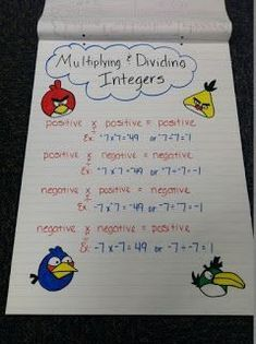 I decided to have my grade Pre Algebra students use anchor charts this year. I didn& think I would like them or my kids, but they absol. Math Charts, Math Anchor Charts, Multiplying And Dividing Integers, Math Classroom, Maths, Classroom Ideas, Math Teacher, Teaching Math, Teaching Ideas