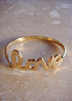 Love Heart Bow Bangle Set of 4 | Handwritten Cursive Love Bracelet | The Lovely Locket