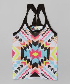 Another great find on #zulily! White & Pink Geometric Knot-Back Tank #zulilyfinds