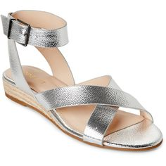 Nine West Silver Mossa Demi-Wedge Espadrille Sandals ($50) ❤ liked on Polyvore featuring shoes, sandals, metallic, silver sandals, wrap around sandals, metallic espadrilles, metallic sandals and wrap sandals