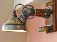 Industrial assemblage light at U Bulinu, a restaurant in Prague