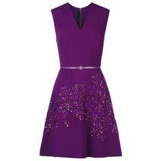 Elie Saab Embellished V-Neck Dress (40,955 MXN) ❤ liked on Polyvore featuring dresses, elie saab, short dress, purple sequin dress, v neck cocktail dress, short party dresses, sequin party dresses and purple cocktail dresses