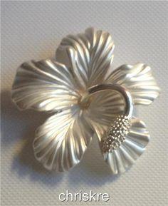 Silver Hibiscus Flower Pin Brooch Beach Bridal Wedding Hawaiian Hawaii USASeller
