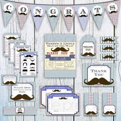 INSTANT DOWNLOAD Printable Mustache Bash Baby Shower Set Baby Shower Kit, DIY party decorations boy baby shower package, personalized shower on Etsy, $27.04 CAD