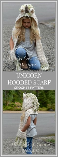 This pattern was a hit at Christmas time. It turned out great and all of the kiddos I made one for loved it! Crochet PATTERN-The Ulyne Unicorn Hooded Scarf (12/18 months, Toddler, Child, Teen, Adult sizes) #crochet #pattern #scarf #affiliate #unicorn