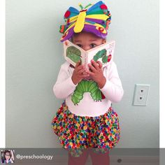 We love a good prop to go with our books! Found a $1 foam visor at the craft store and created a Very Hungry Caterpillar butterfly out of felt to top it. Mak is a bookworm turned book-butterfly:) #preschoology #theveryhungrycaterpillar #veryhungrycaterpillar #ericcarle @worldericcarle #bookworm #kidscraft #book #childrensbook #preschool #ece