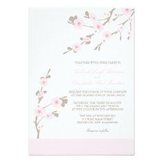Cherry Blossom Wedding Invitations Pink and Brown #wedding #weddinginvitations #invitations #weddingplanner