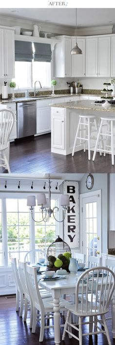 So many little details make this space just right -- the shelf over the kitchen sink window, beadboard and trim on the cabinets, and decor with character!