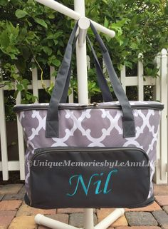 Geometric Quatrefoil insulated Cooler Bag - FREE Monogram or Name - Great for Brides,  Housewarming, tailgates, beach, camping, boating by UniqueMemoriesLeAnn on Etsy