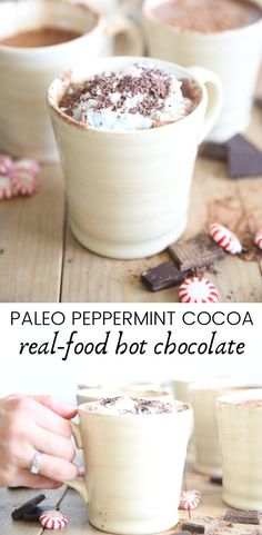 Delicious paleo peppermint hot chocolate made with real-food. Simple and healthy paleo drink. #paleorecipes