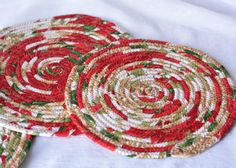 Red Christmas Trivets Handmade Holiday Table Topper, Potholders, Table Mats, Unique mug rugs, hot pads, great hostess gift by WexfordTreasures