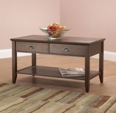 Traditional Coffee Table With Two Drawers Living Room Furniture Walnut Finish
