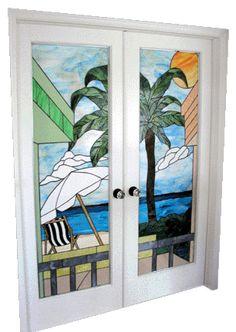 Beach Scene Stained Glass Doors
