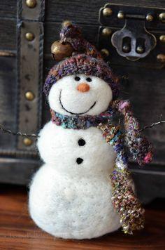 Snowmen Solid wool needle felted Snowman 590 by BearCreekDesign