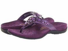 Purple Vionic thong sandals with Orthaheel technology Purple Love, All Things Purple, Shades Of Purple, Purple Stuff, Purple Sandals, Purple Shoes, Sparkly Sandals, Cute Shoes, Me Too Shoes