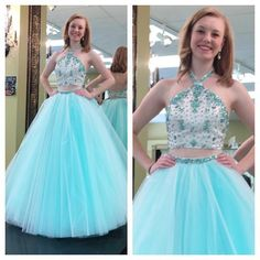 2016 Two Pieces Prom Dresses Y Shape Halter Backless With Beads Sequins Rhinestones Satin Tulle Long Prom Pageant Gowns Birthday Party Wear Elegant Prom Dresses Uk Extravagant Prom Dresses From Allanhu, $155.1| Dhgate.Com