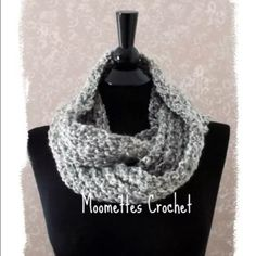 NEW  Handmade Crochet Infinity Scarf Grey NEW Crochet Gray Infinity Scarf Cowl Circle Scarf Light Grey Wrap Handmade Size approximately: 50 inches long by 4 inches wide.  Machine Washable, Dry on gentle cycle. Do not iron. MCCLO Crochet Handmade in USA Handmade Accessories Scarves & Wraps