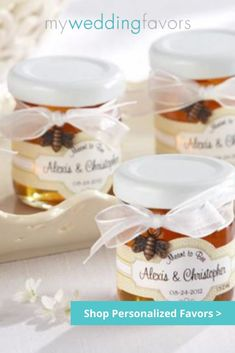 The engaged couple are surely meant to bee! These honey jar favors are a cute idea and will definitely appreciated by guests! | Personalized Meant to Bee 1.75 oz. Clover Honey | My Wedding Favors
