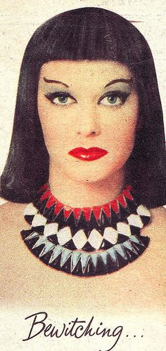 """A """"bewitching"""" Cleopatra inspired make-up look from 1958."""