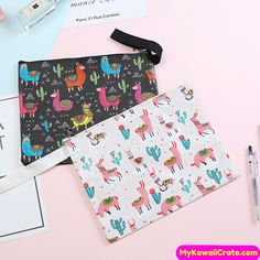Friendly Unicorn Document Bag File Folder Pencil Case Stationery Organizer Zipper Brush Pencil Bag For Girl Kids Learn School Supplies Office & School Supplies File Folder