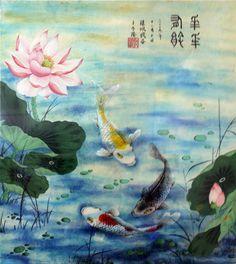 #Fish #Koi #Lotus #ChineseArt #Painting #Water Chinese Painting, Chinese Art, Koi, Lotus, Fish, Water, Gripe Water, Lotus Flower, Lily