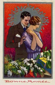 1920s New Year couple postcard