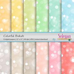 Colorful Bokeh, Digital Paper, Scrapbooking, Paper, 12x12, Printable, Lighting, Pattern, Glitter, Texture, Bokeh, Background, Download by Selegan on Etsy