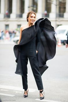 wow. black ruffle pantsuit in Milan. fairly epic.
