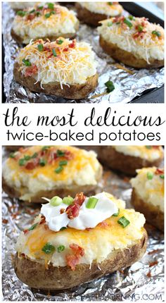 These twice baked potatoes are the BEST! My whole family gobbled them up! These twice baked potatoes are the BEST! My whole family gobbled them up! I Love Food, Good Food, Yummy Food, Potato Dishes, Food Dishes, Side Dishes, Best Twice Baked Potatoes, Stuffed Baked Potatoes, Double Baked Potatoes