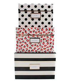Kate Spade Nesting Boxes: Pretty patterns adorn striking storage bins that will energize an everyday office space.