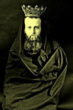 King Arthur I, 2014 by VJ Von Art  #art #photography #fashion #Indie #beard #crown #birds #pigeon #portrait #VJVONART