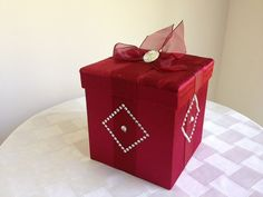 Sparkly Red Gem and Fabric Box by EmbellaBox on Etsy, $9.00