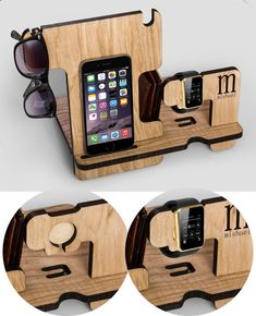 This personalized Combined Docking Station with the ability to install Iwatch charging device. It made of solid wood Ash. Colour - natural. This gift will please any man. An excellent opportunity to make a gift to a birthday or anniversary. This wooden holder suitable for iPhone 6, iPhone 6s, 6s Plus Dimensions: Height 9.3 inches Width 12 inches Depth of 7.2 inches Thickness 0.36 inches For the iPhone 6, iphone 6S plus, iPhone 5s and iphone SE in my store also has such a model. See it in…