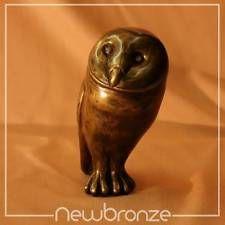 Bronzefigur Bronze Skulptur Eule Schleiereule |9x11x19cm 2250g