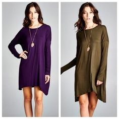 JUST INLong sleeve staple tunic{eggplant, olive} JUST IN✨long sleeve solid tunic top. Available in eggplant or olive. Other