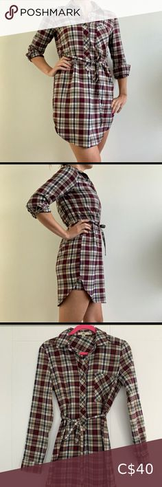Plaid shirt dress. Perfect for fall 🍂 this shirt dress has a tie waist (can be removed to add your own belt) looks great on its own or with tights. Cute maroon, cream, black, & green plaid pattern goes with everything. Ya Los Angeles Dresses Long Sleeve French Connection Tops, Design Lab, Plaid Pattern, Sleeveless Blouse, Lace Detail, Looks Great, Tights, Belt, Shirt Dress