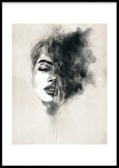 Beautiful black and white print of a woman. This is a modern and tasteful art poster that fits many different interior styles. For more posters in the same style, check out our ART PRINTS category. Desenio.co.uk