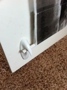 Stick-on hook to hold shade in place
