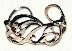 Custom 14kt yellow gold Monogram Cuff bracelet with Initials SAT