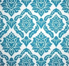 Pickawall - Blue Floral Tile Wallpaper. The perfect texture look wallpaper for a formal dining room.