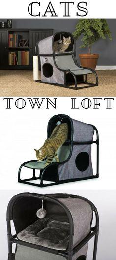 cat town loft, love!  Tina will love this! and then... she'll sleep on my bed anyway.... pet furniture | happy cat | appartamento duplex per gatti | arredamento per animali domestici | gatti felici #petfurniture #aff