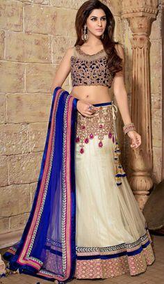 Off White Net Party Wear Lehenga Choli Lehenga Choli Online, Bridal Lehenga Choli, Indian Lehenga, Net Lehenga, Anarkali, Lehenga Style, Lehenga Blouse, Indian Wedding Gowns, Indian Dresses