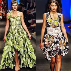 Lia Griffith dresses, made from recycled paper. Really like the one on the right. Haven't seen a design like that before