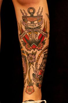 Leg sleeve part 1. Jason Monroe. Ink and Dagger Tattoo. Old School Love the tattoos and placement