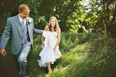 Bride in tall Farm Grass