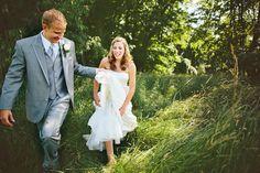 Bride in tall Farm Grass