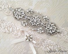 Ivory Lace Garter Set EXCLUSIVE Wedding Garter Set by GarterQueen