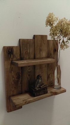 The Pallet shelf is a rustic distressed, two shelf unit and/or wall decor. Dimensions are 4-3/4 deep x 14 wide x 16 high and comes with two pre-drilled mounting holes for super easy hanging. The shelves are 3-1/4 x 9 and the other is 3-1/4 x 13 Please note that the shelves are now 1-1/2 thick to Pallet Shelves, Rustic Shelves, Wooden Shelves, Display Shelves, Pallet Boards, Wood Pallets, Pallet Wood, Wall Shelf Rack, Laundry Room Signs
